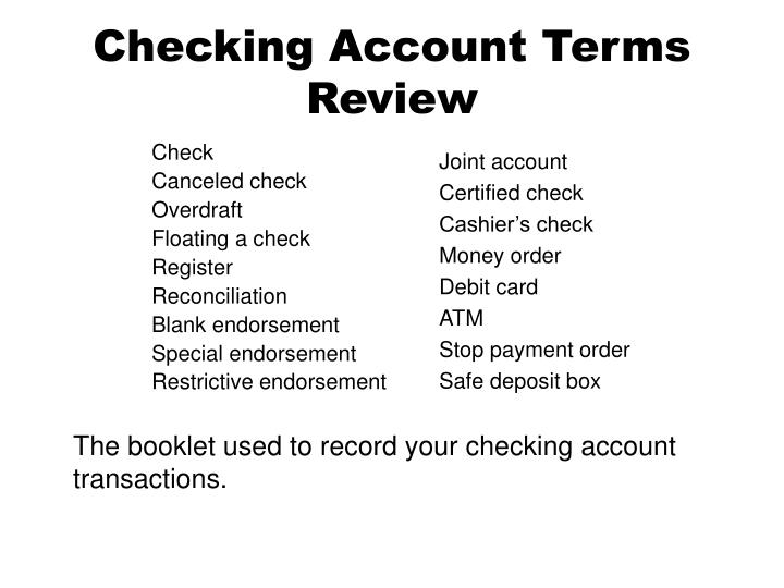 the different aspects and functions of a checking account Electronic health record features & functions basic ehr functions projects like health level 7 are currently attempting to define the minimum functions an ehr should perform to help physicians.