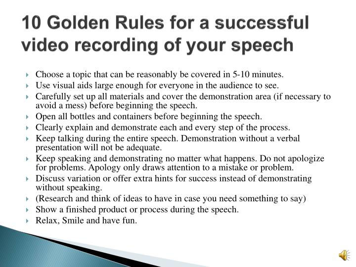 10 Golden Rules for a successful video recording of your speech