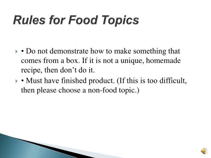 Rules for Food Topics