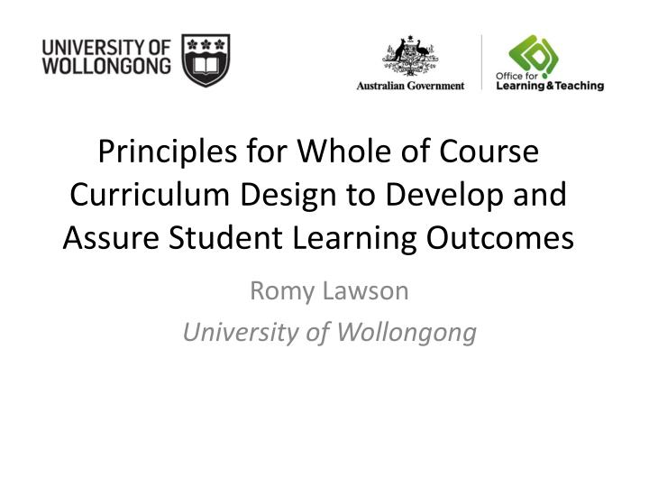 principles for whole of course curriculum design to develop and assure student learning outcomes n.