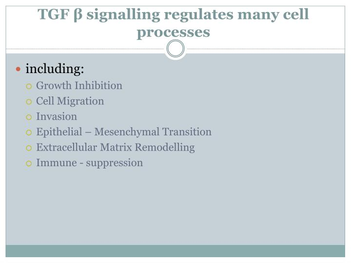 Tgf signalling regulates many cell processes