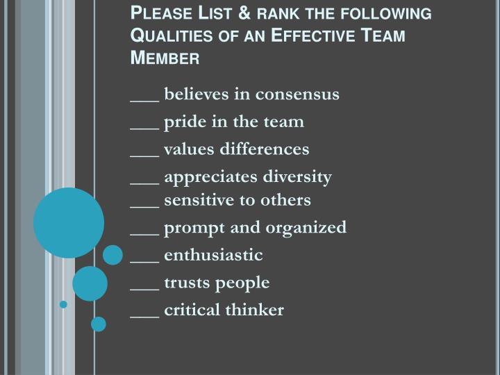 Please List & rank