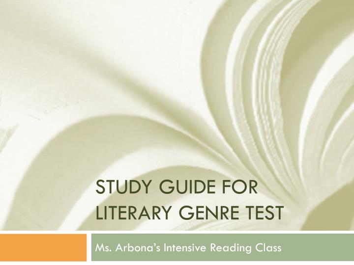 study guide for literary genre test n.