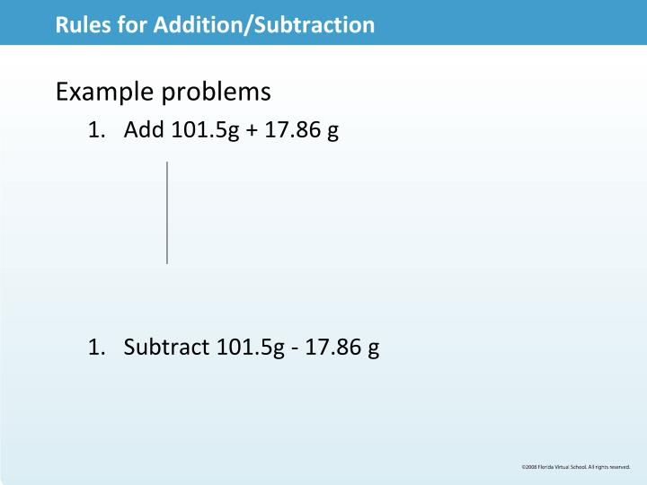 Rules for Addition/Subtraction
