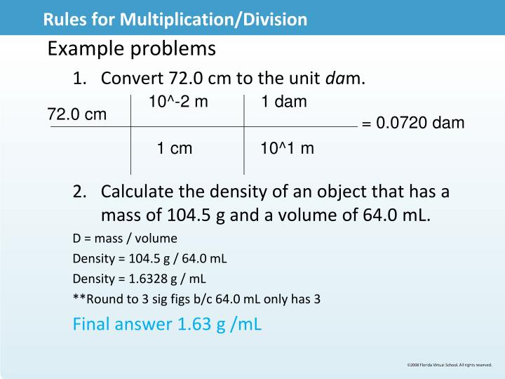 Rules for Multiplication/Division