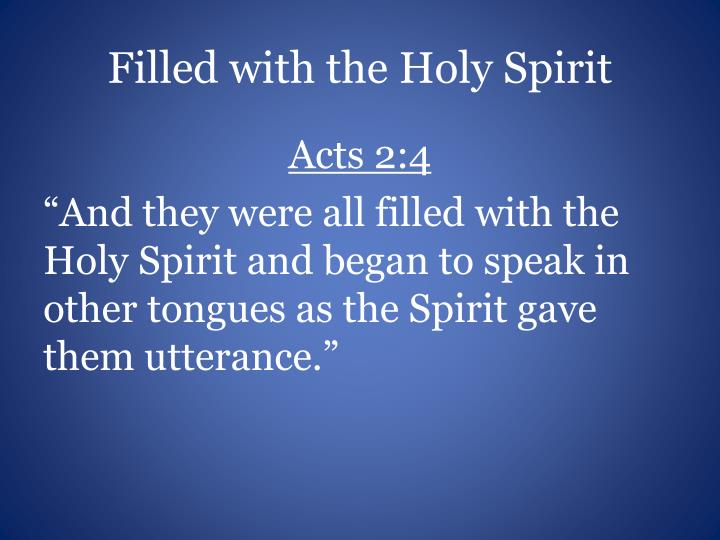 Filled with the Holy Spirit