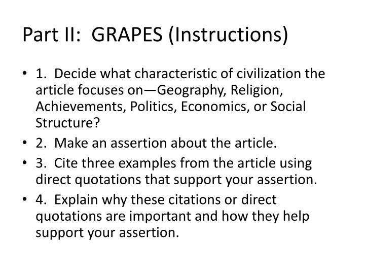 Part II:  GRAPES (Instructions)