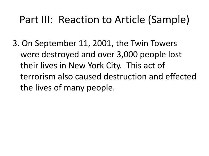 Part III:  Reaction to Article (Sample)