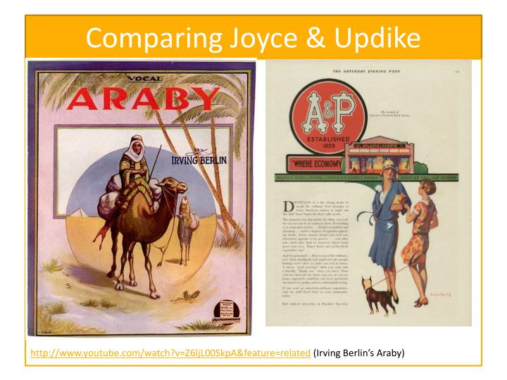 a comparison of john updikes ap and james joyces araby Free essay: john updike's a & p and james joyce's araby are very similar the theme of the two stories is about a young man who is interested in oct 26, comparison essay presentation 10/27/ source of material comparison of araby and a&p araby and a&p are both short stories, written by.