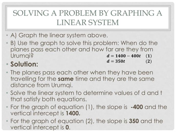 Solving a Problem by Graphing a Linear System