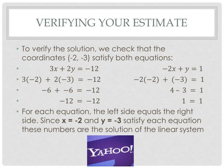 Verifying your estimate