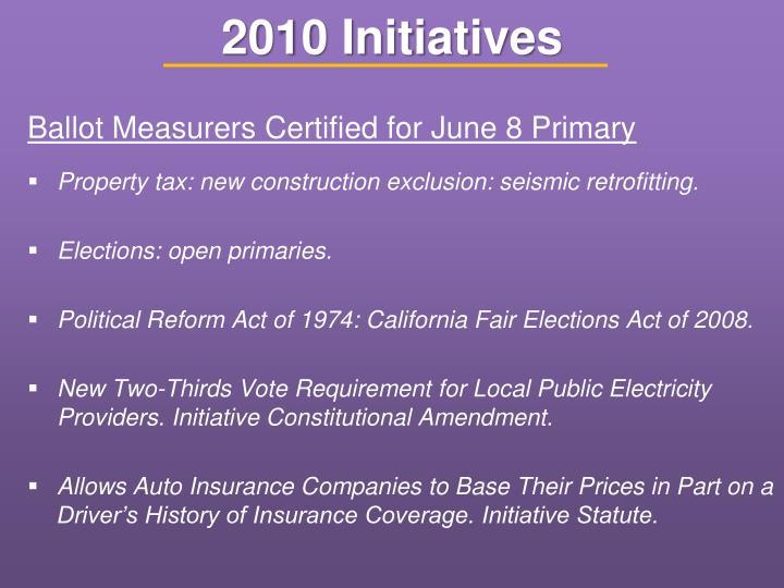 2010 Initiatives