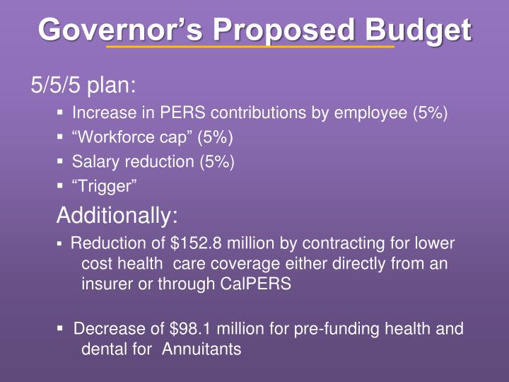 Governor's Proposed Budget