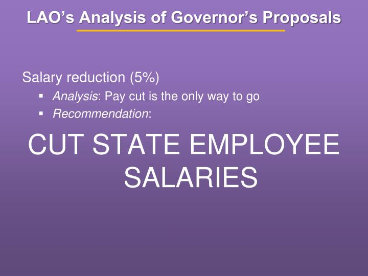 LAO's Analysis of Governor's Proposals