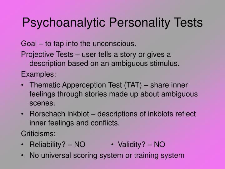 Psychoanalytic Personality Tests