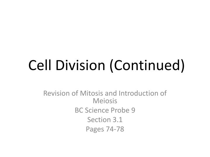 cell division continued n.