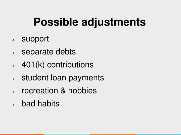 Possible adjustments