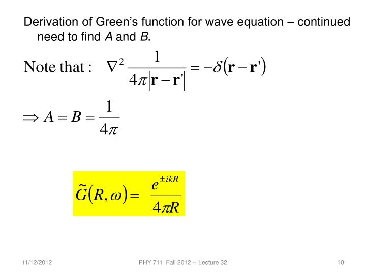 Derivation of Green's function for wave equation – continued