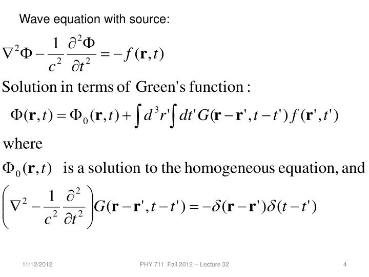 Wave equation with source: