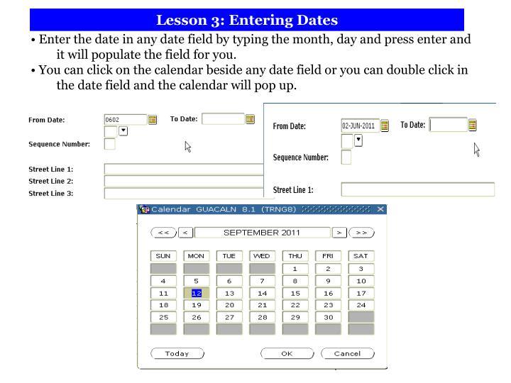 Lesson 3: Entering Dates