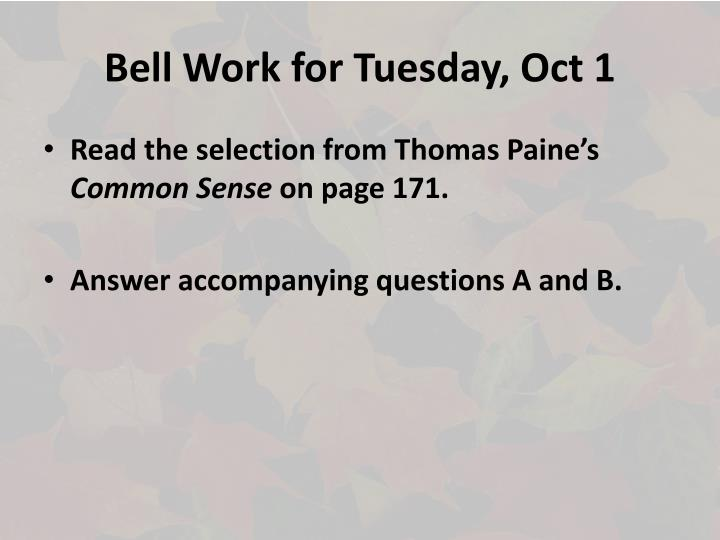Bell work for tuesday oct 1