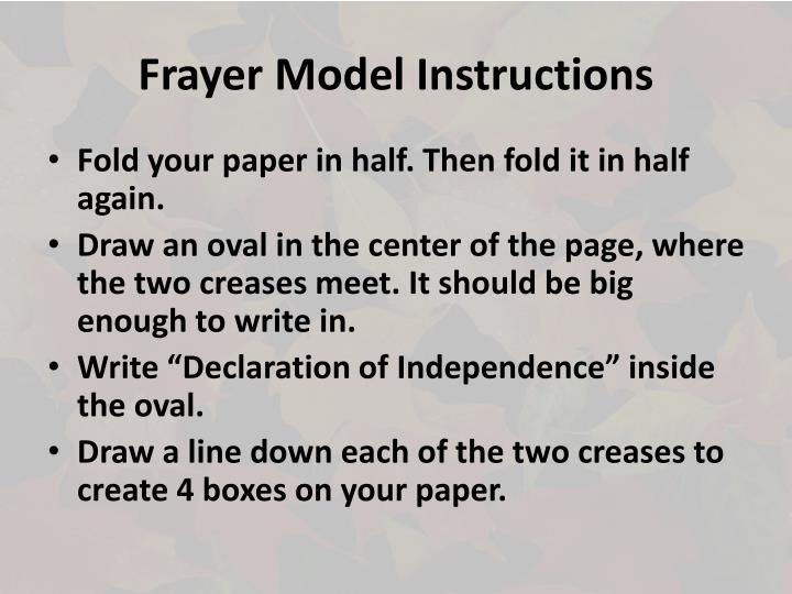 Frayer model instructions