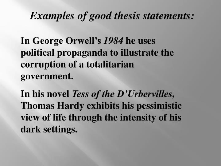 Examples of good thesis statements: