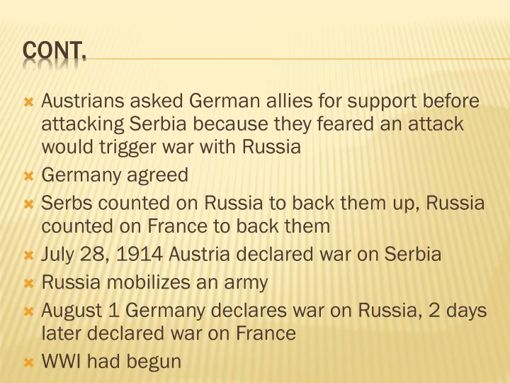 Austrians asked German allies for support before attacking Serbia because they feared an attack would trigger war with Russia