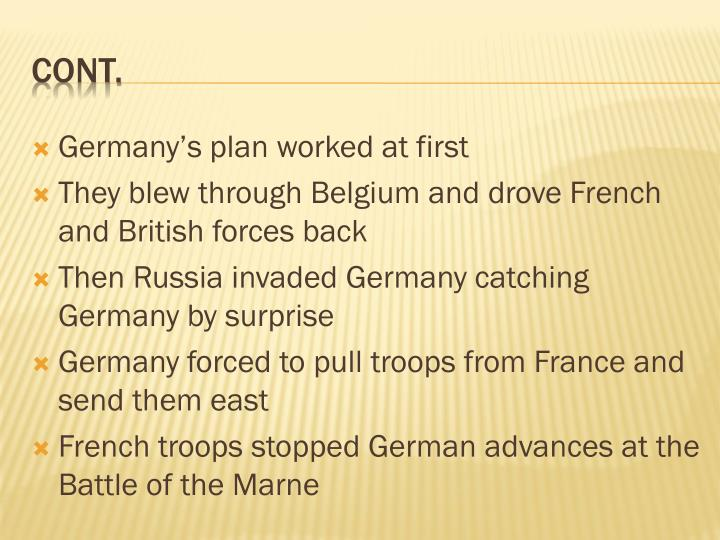 Germany's plan worked at first