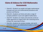 claims evidence for ccss mathematics assessments