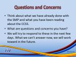 questions and concerns