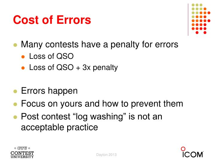 Cost of Errors