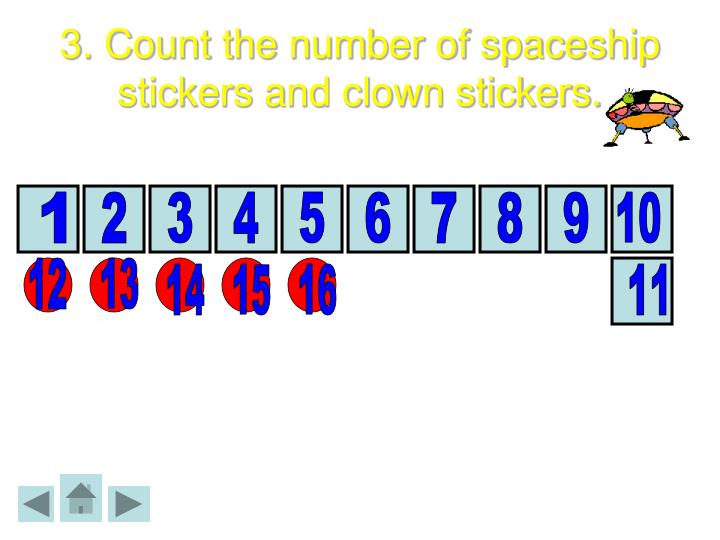 3. Count the number of spaceship stickers and clown stickers.