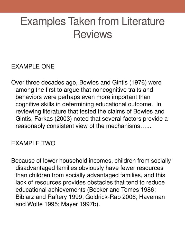 Examples Taken from Literature Reviews