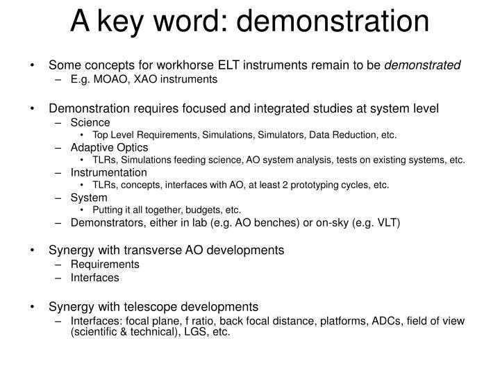 A key word demonstration