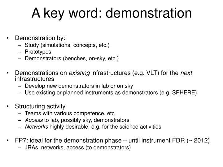 A key word: demonstration