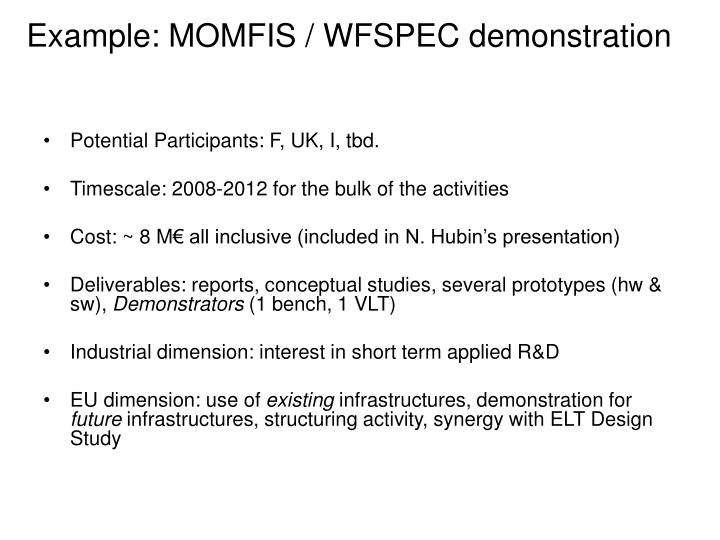 Example: MOMFIS / WFSPEC demonstration