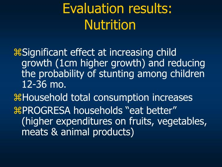 Evaluation results: Nutrition