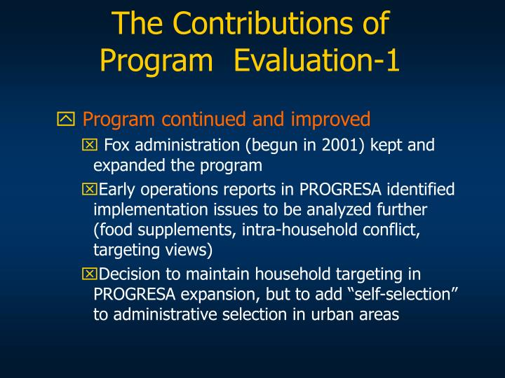 The Contributions of Program  Evaluation-1