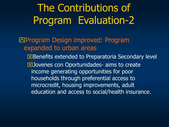 The Contributions of Program  Evaluation-2
