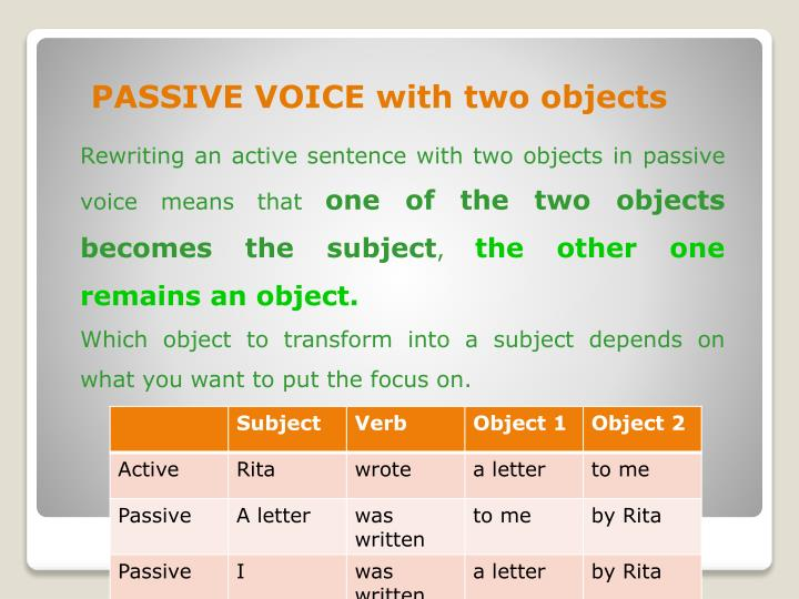 passive voice with two objects