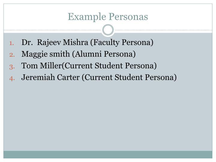 Example Personas