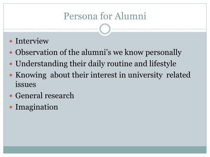 Persona for Alumni