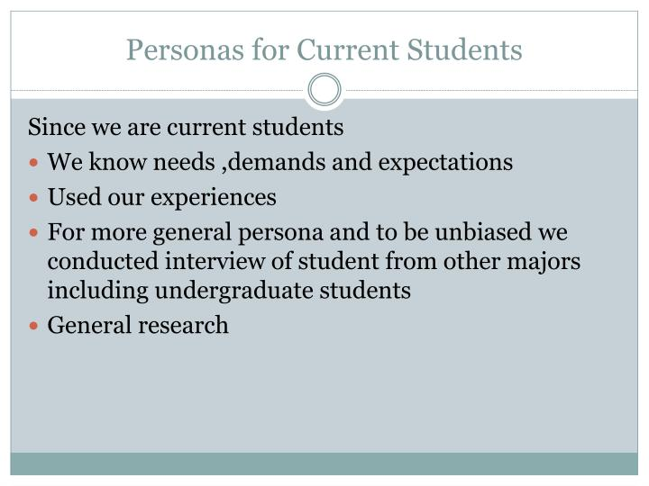 Personas for Current Students