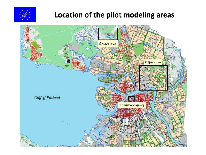 Location of the pilot modeling areas