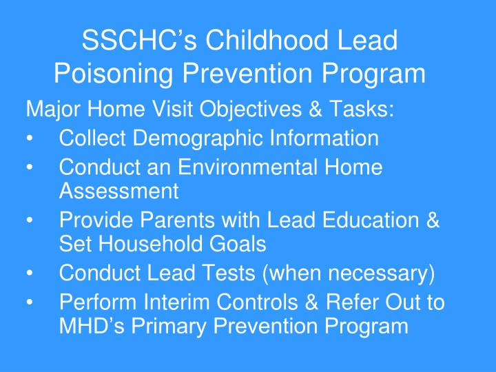 SSCHC's Childhood Lead Poisoning Prevention Program