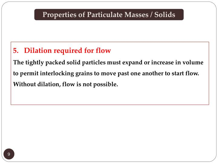 Properties of Particulate Masses / Solids