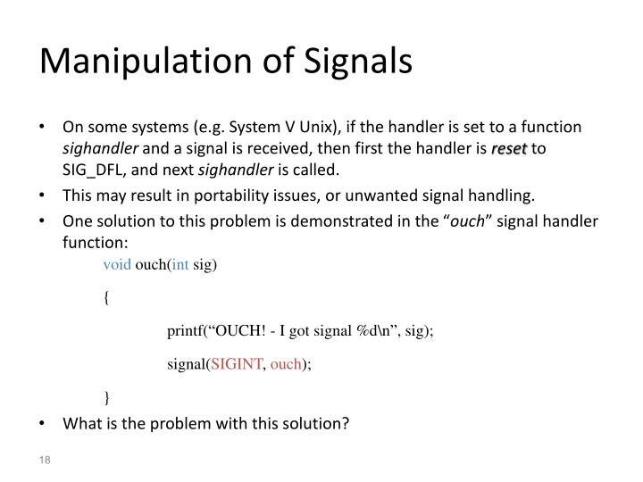Manipulation of Signals