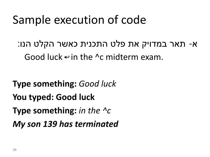 Sample execution of code