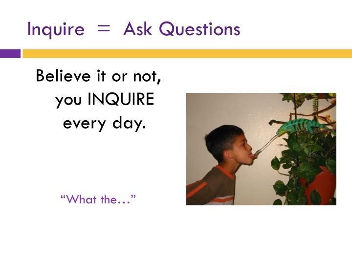 Inquire ask questions